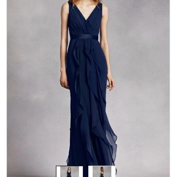 Vera Wang Dresses | White Navy Blue Formal Gown | Poshmark